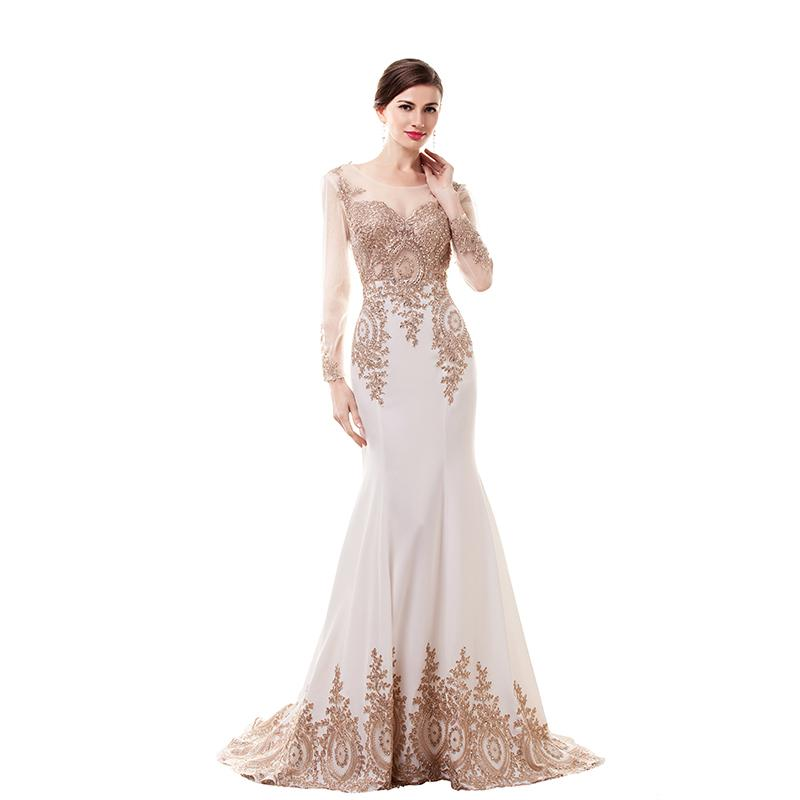 2016 Ivory Long Mermaid Evening Dresses Sheer Long Sleeves Champagne ...