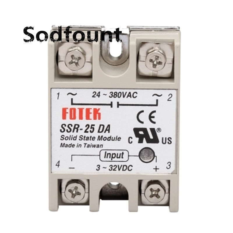 Industrial Solid State Relay SSR 25A With Protective Flag SSR-25DA 25A DC Control AC