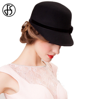 FS Church Dresses Hats For Women 100% Australian Wool Fedora Black Gray Wide Brim Ladies Bow Kentucky Derby Hat Chapeau Femme
