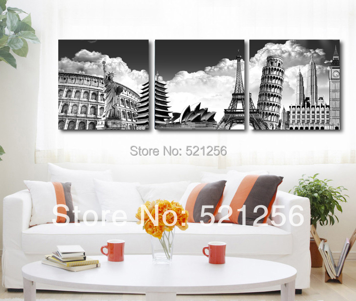 3 Piece Free Shipping Home Decoration Wall Art Printed Canvas Oil Painting Picture Paris New York