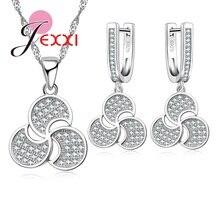 Jemmin  2017 New Trendy Windmill Flower 925 Sliver Necklace Earrings Sets Women Party Statement Jewelry Set Bijoux Femme