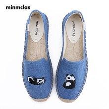MInmclas Summer Alpargatas Panda Comfortable Slip-on Womens Casual Espadrilles Breathable Flax Hemp Canvas for Girl Shoes