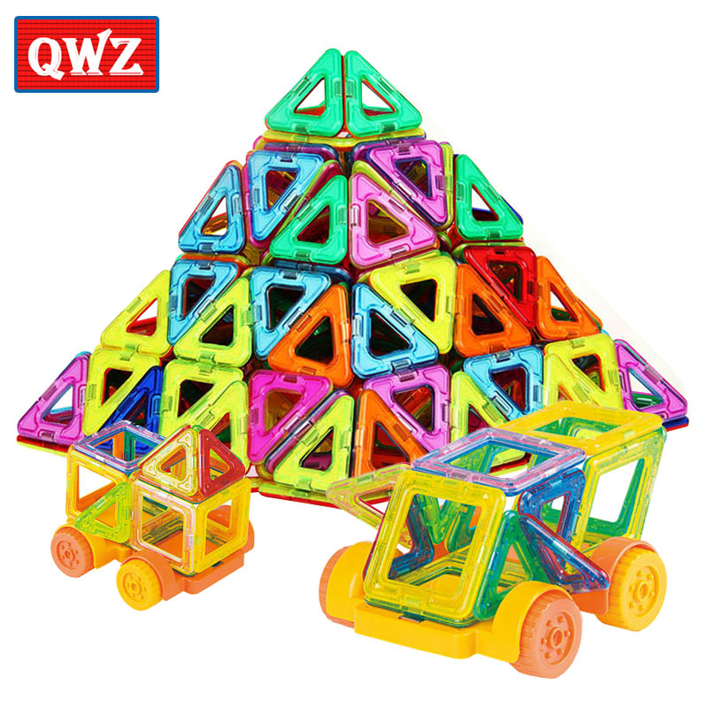 QWZ 32PCS Mini Magnetic Designer Construction Set Enlighten Bricks Magnetic Model Building Blocks Educational Toys For Children
