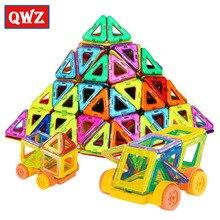 QWZ 32 PCS Mini Magnetic Designer Modelo Magnético Conjunto de Construção Iluminar Tijolos Blocos de Construção de Brinquedos Educativos Para Crianças