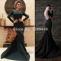 Fashionable Sexy Celebrity Dresses To Party Mermaid Navy Beadings Long Sleeved Formal Sexy Backless Eveninig Gown 2017