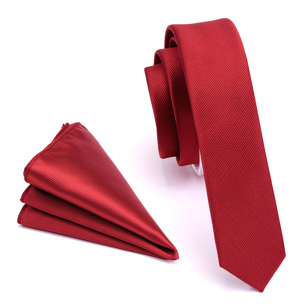GUSLESON Fashion Solid 4cm Slim Tie Black Green Red Plain Color Necktie Hanky Set Men's Party Wedding Narrow Skinny Neck Tie