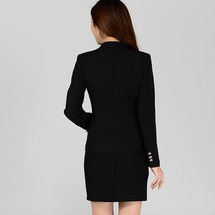 HanOrange Elegant Long Sleeve Fashion Female Work One Button Office Lady Women Formal Blazer Jacket Skirt Suit Black Plus Size