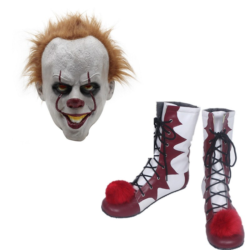 Stephen King's It Clown Pennywise Shoes And Masks Cosplay Costumes Adult Men Women Boots Helmet Halloween Party Props Customize