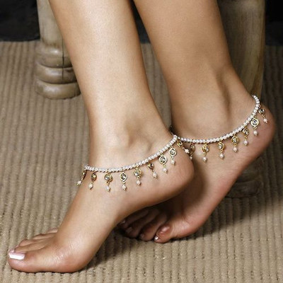 Simple Crystal Pearl Female Anklets Barefoot Crochet Sandals Stretch Jewelry Leg Anklets On Foot Bracelets For Women Chain N55 image