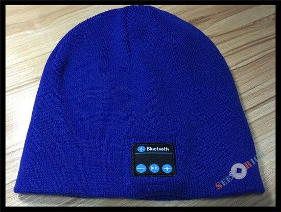 Беспроводной Bluetooth V4.2 Beanie для мальчиков и девочек, мужчин и женщин, вязаная зимняя шапка для наушников, ручной Mp3 микрофон, волшебная музыка, умная шапка+ подарочная коробка - Цвет: Синий