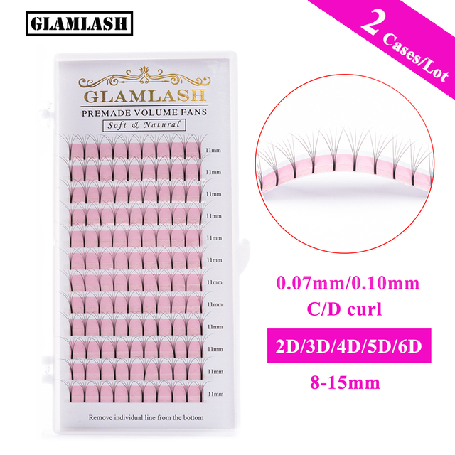 GLAMLASH 2 Cases Wholesale 2D-6D Long Stem Lash Premade Russian Volume Fans Mink Eyelashes Premade Eyelash Extensions Makeup