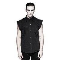 Noir Deux Poches Manches Courtes Hommes Denim Chemises Punk Militaire Style Volant Chemise À Manches Croix Pocket Casual Blouse