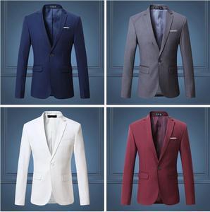 Image 4 - Black Classy Mens Blazer Jacket One Button Slim Wedding Suit Men Solid M 3XL Mens Casual Blazers White Customizable Big Size