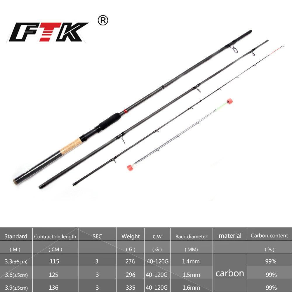 Canne à pêche FTK 99% canne d'alimentation en carbone 3SEC C.W 40-120G 3.3 M 3.6 M 3.9 M Standard appâtcasting leurre bâton de pêche attirail de pêche G0D - 2