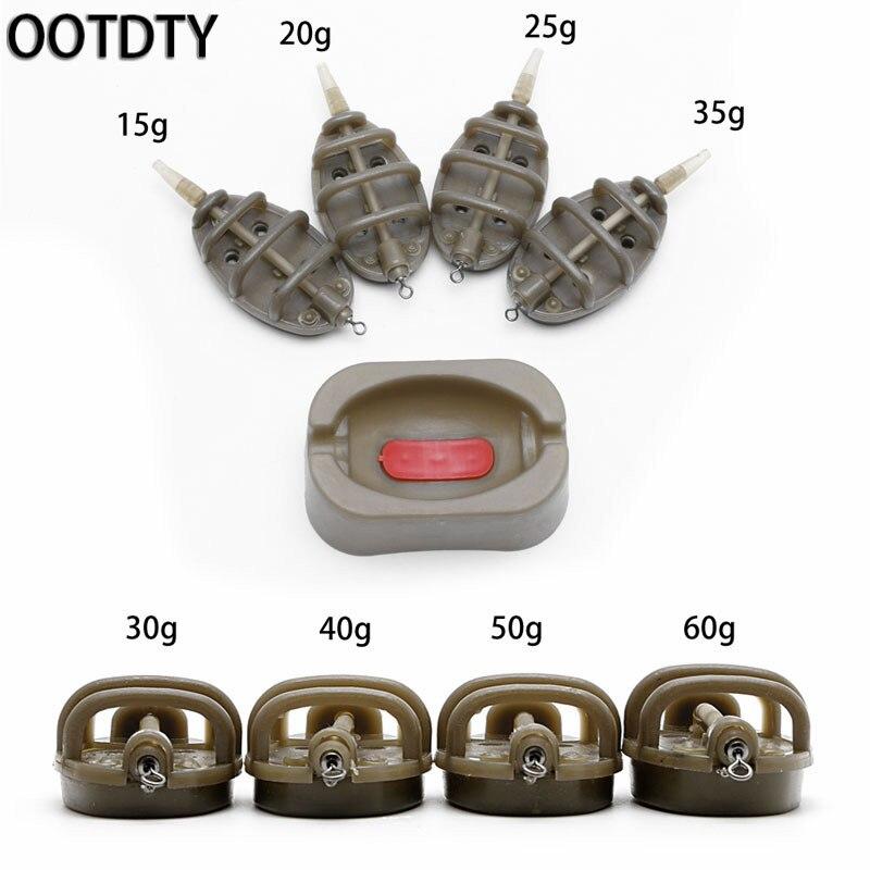 OOTDTY Inline Method Carp Fishing Feeder 4 Feeders 15/20/25/35g 30/40/50/60g Mould Set