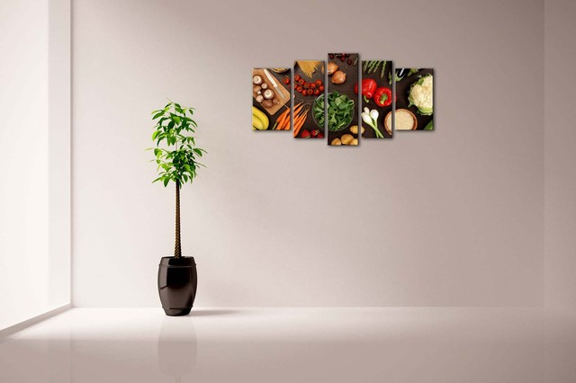5 Panels Fruits and Vegetables Patterned Wall Canvas Poster