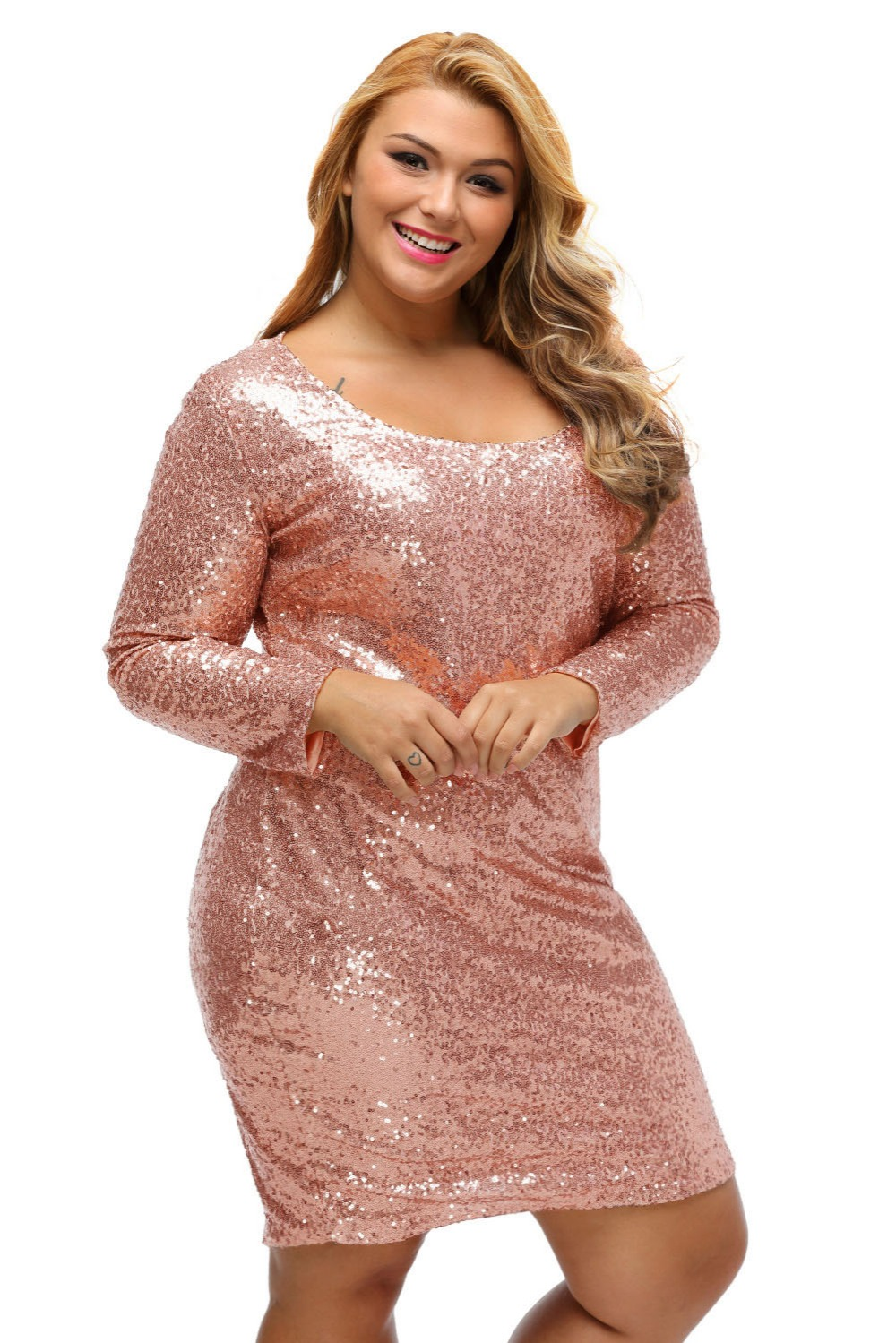 Summer Autumn Plus Size Dress For Women Glitter Sequined Long Sleeve Solid  Champagne Dresses Party Office Lentejuelas Vestido-in Dresses from Women s  ... b39f310081b8
