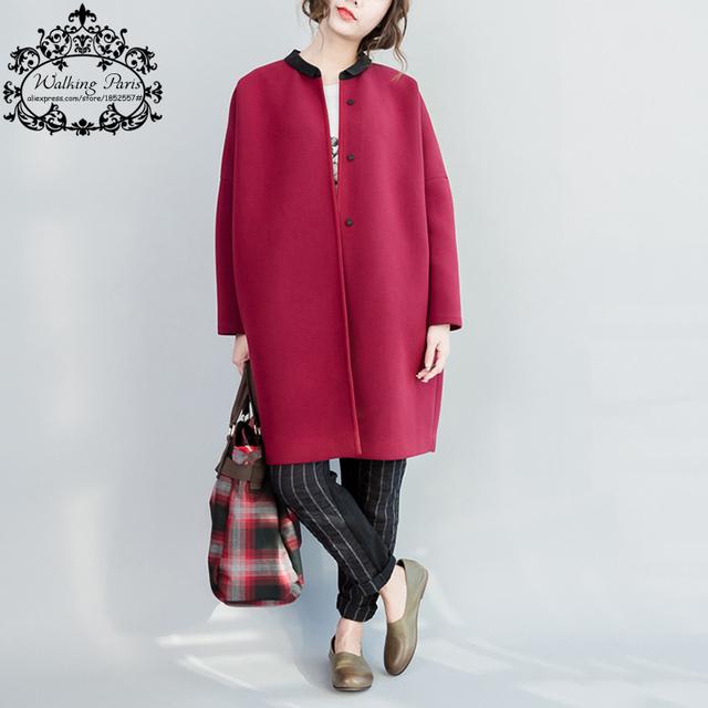 Plus Size Casacos Outono Jaqueta de Algodão Básica Sólida Impressão O-pescoço Tamanho Grande soltas Casual Moda Feminina Inverno Quente Novo Longa Cardigan