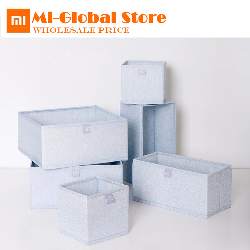 new arrival xiaomi yuan su storage box 6 pcs high density Oxford cloth box damp proof for Socks Underwear Ties Bra clothes