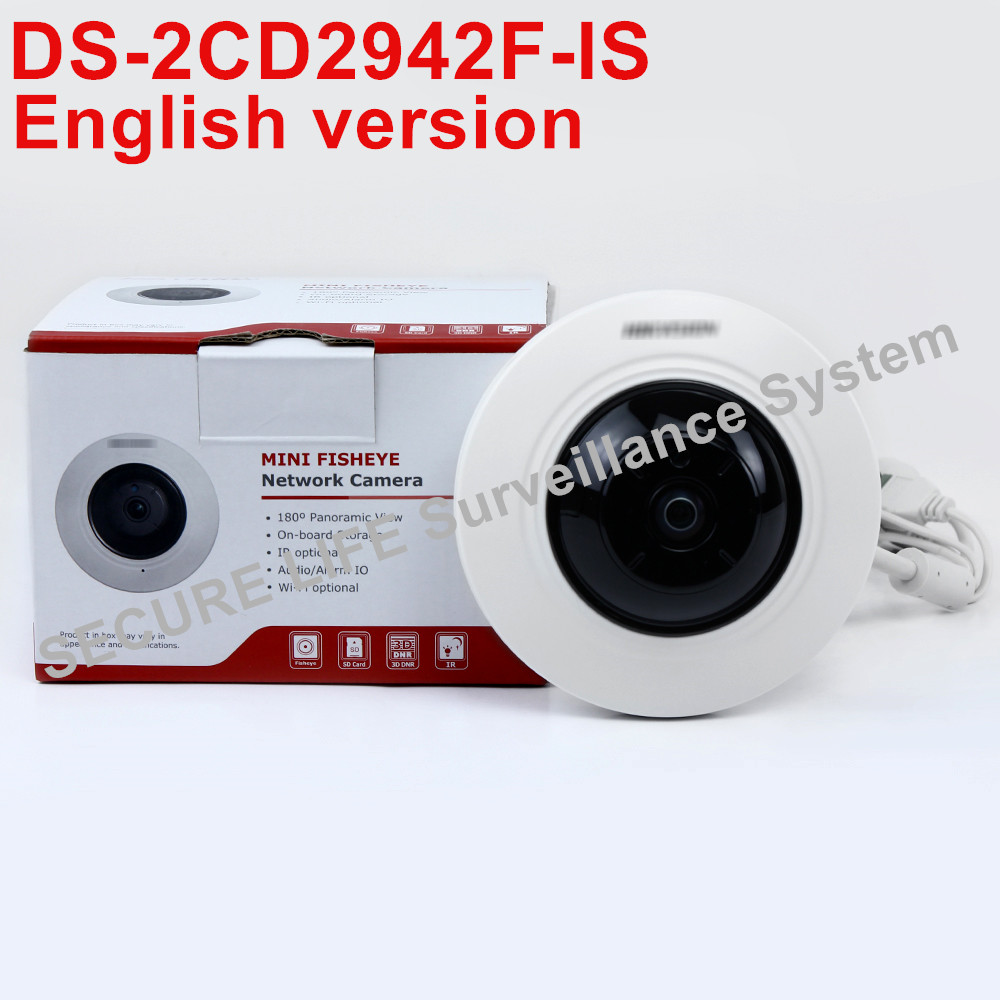 Free shipping English version DS-2CD2942F-IS 4MP Compact Fisheye Network ip security Camera with Fisheye & PTZ view мяч футбольный joerex 5 jis010