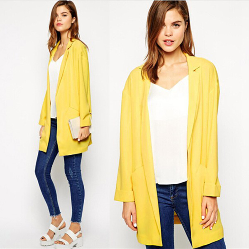New Arrival Women Plus Size Blazer Jacket Yellow Cardigan Suit ...