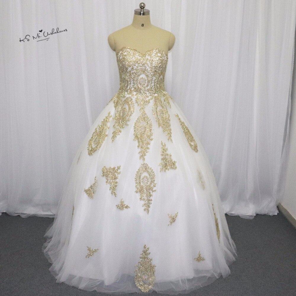 Weiß Gold Gothic Hochzeitskleid Spitze Ballkleid Braut Kleider 2016 ...