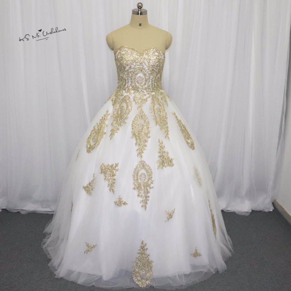 Gothic wedding shop - White Gold Gothic Wedding Dress Lace Ball Gown Bride Dresses 2016 Princess Wedding Gowns Floor Length