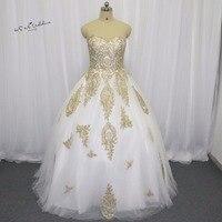 White Gold Gothic Wedding Dress Lace Ball Gown Bride Dresses 2016 Princess Wedding Gowns Floor Length Vestido de Noiva Casamento