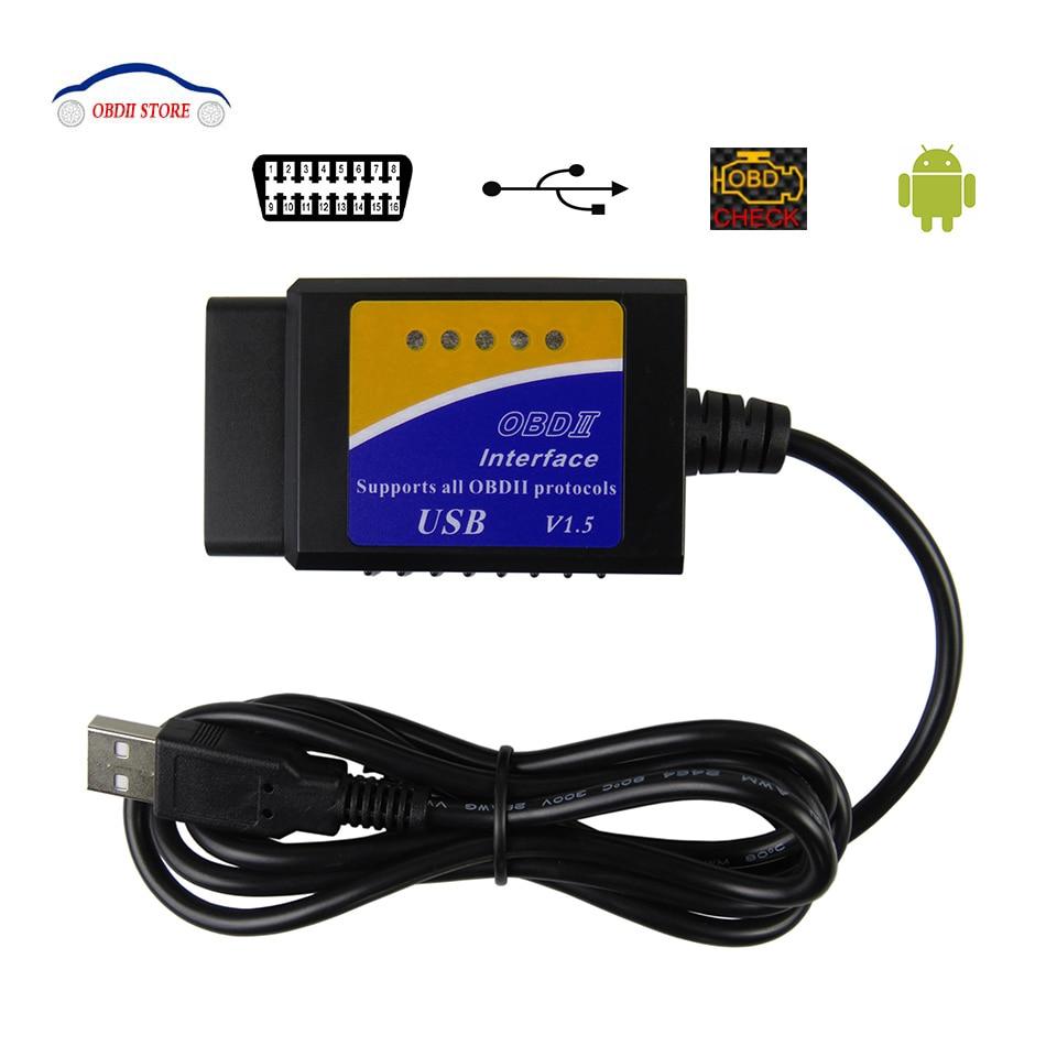 ELM327 USB V1.5 OBD2 Auto Diagnose Interface Scanner ULME 327 v 1,5 OBDII Diagnose Werkzeug ELM-327 OBD 2 code Reader Scanner