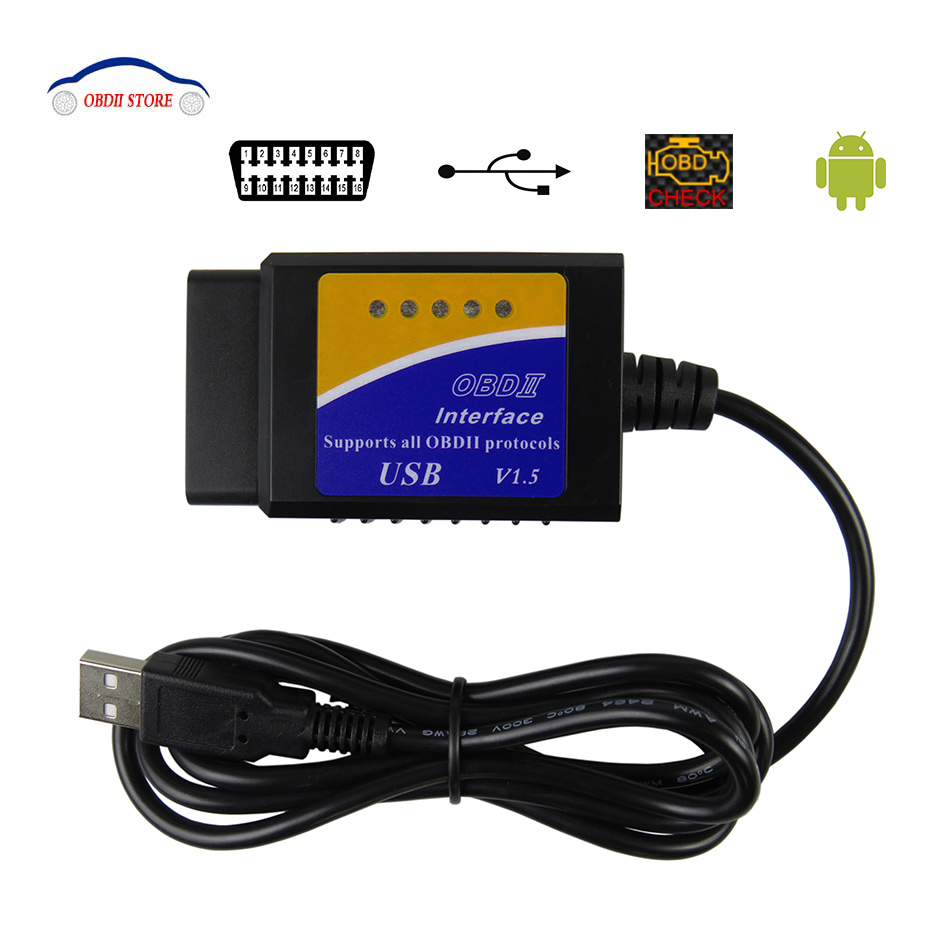ELM327 USB V1.5 OBD2 Car Diagnostic Interface Scanner ELM 327 V 1.5 OBDII Diagnostic Tool ELM-327 OBD 2 Code Reader Scanner