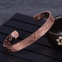 hot deal buy vinterly open cuff adjustable bracelets for women health energy magnetic bangles flower pattern pure copper bracelets & bangles