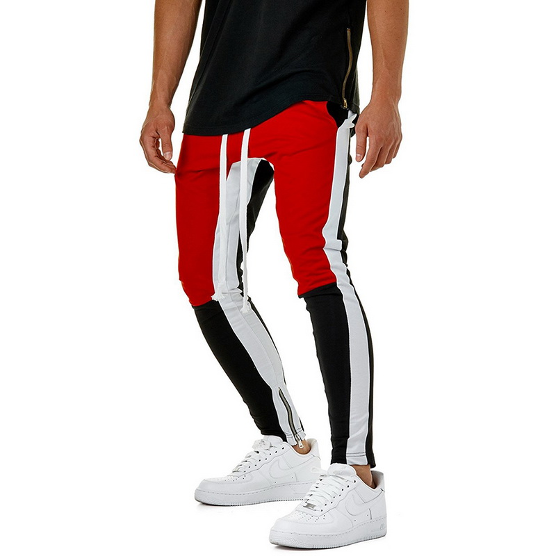 VERTVIE Men Multi-color Block Patchwork Pants Male Slim Fit Hip Pop Bottoms with Leg Opening Zipper Fashion Streetwear Plus Size