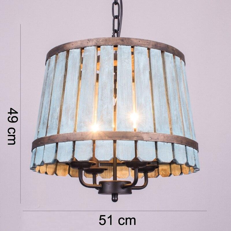 Loft Nordic retrò creativo lampadario antico secchio di legno per ...