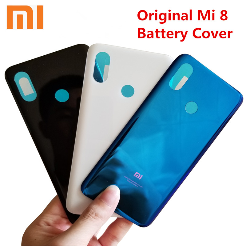 Original Xiaomi 8 Back Cover, Rear Back Housing Door For Mi 8 Mi8 3D Glass Battery Cover Replacement Parts With Sticker And Logo