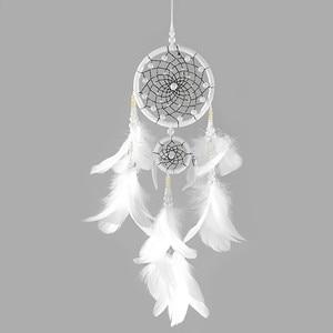 White Dream Catcher Feather Bead Ring Window Car Hanging Ornament Craft fluorescent Dream Catchers onho de apanhador 18Sep