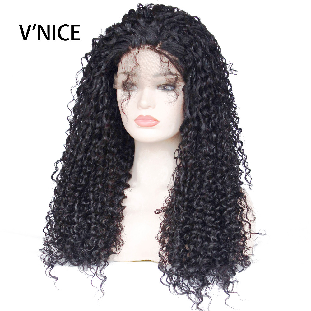 VNICE Black Color Long Hair Kinky Curly Lace Wigs Heat Resistant Fiber 180 Density Synthetic Lace Front Wig with Baby Hair