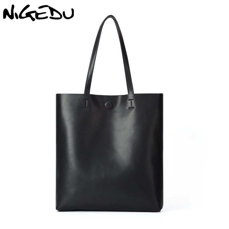 NIGEDU Genuine leather bag women handbag fashion Cowhide Shoulder Bag Large Capacity Ladies Bag bolsos brand design Women Totes 2017 esufeir brand genuine leather women handbag fashion shoulder bag solid cowhide composite bag large capacity casual tote bag