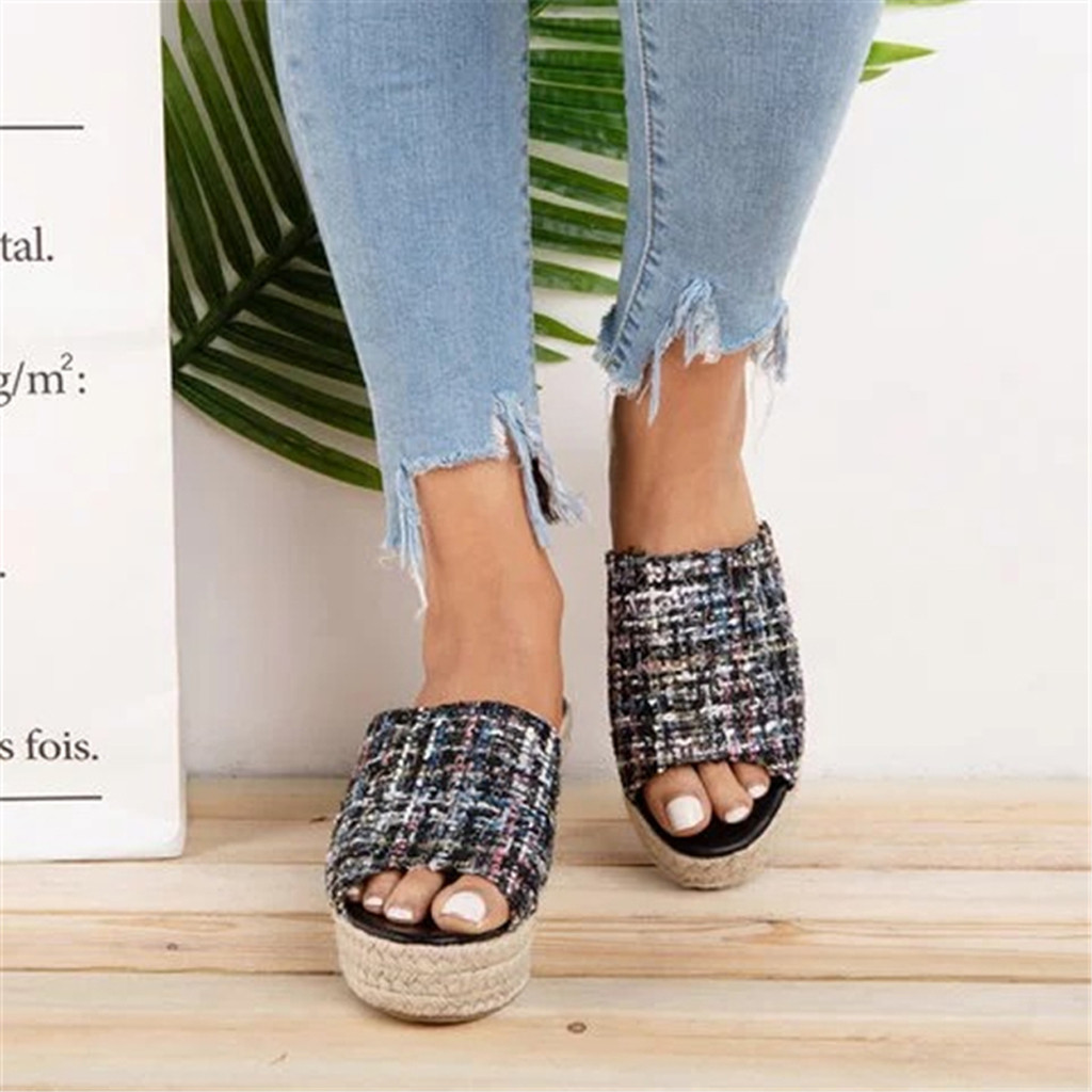 Sandals Shoes Slippers Platform Open-Toe Fashion Wedges Womens Thick-Bottom Roman