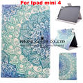 Fshion cartoon pattern Smart Stand pu Leather case cover for apple iPad mini 4 Tablet protect case + screen protectors+stylus