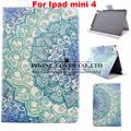 Fshion de la historieta patrón soporte elegante cubierta de cuero de la pu case para apple ipad mini 4 tablet proteger case + screen protector + stylus