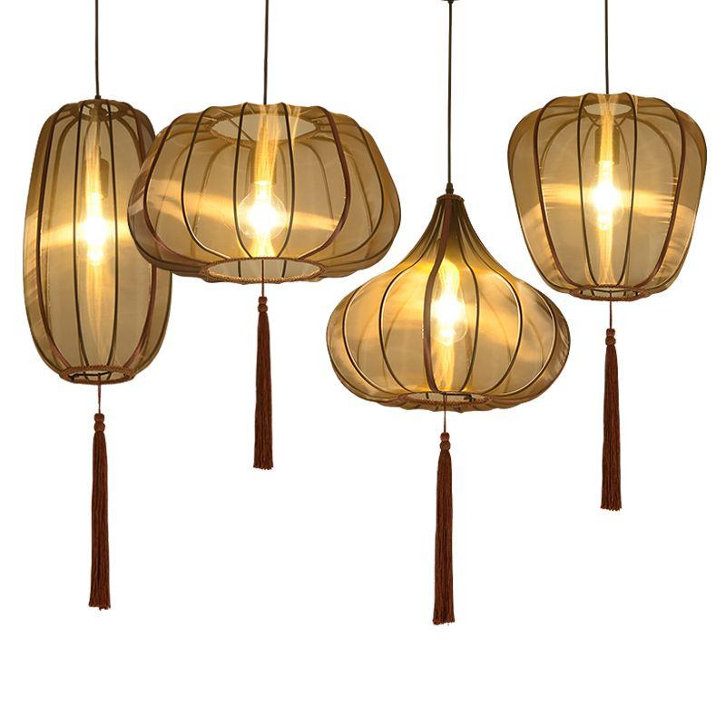 Chinese Hand Solid Lanterns Restaurant Pendant Light Balcony Corridor Hanging Lamp Pastoral Hallway Bedroom Pendant Lamps