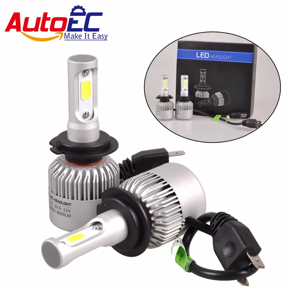 AutoEC <font><b>100</b></font> set S2 COB <font><b>LED</b></font> Headlight 42W H1 H4 <font><b>H7</b></font> H11 H13 H3 9004 9005 Bulbs 8800LM 6000K high bright lamps 12V #LN63 image