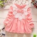 Retail-2016 outono vestido bebê recém-nascido/macio e bonito laço floral princesa vestido infantil do bebê meninas vestido de Bebê Mel roupas cor de rosa
