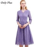 ONLY PLUS Womens Purple Lace Dress 2017 Autumn Elegant V Neck Lace Up Long Party Dress