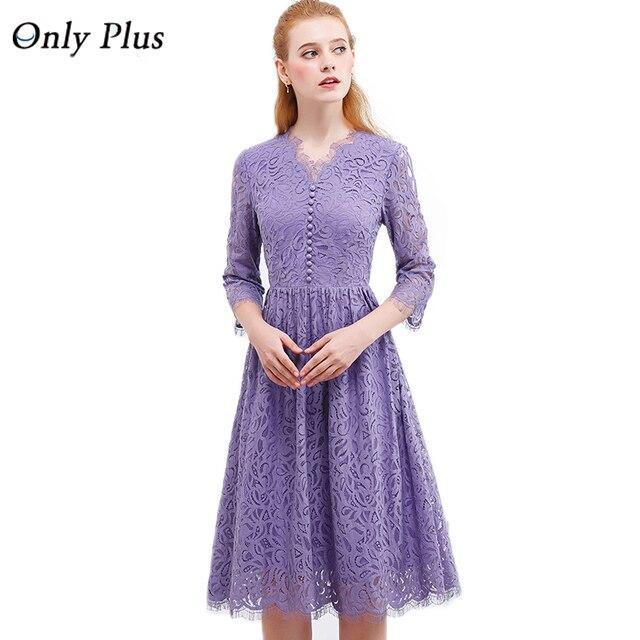 4f0b83bd398 ONLYPLUS Frauen Lila Spitze Kleid 2019 Herbst Elegante V-ausschnitt Lace Up  Lange Party Kleid
