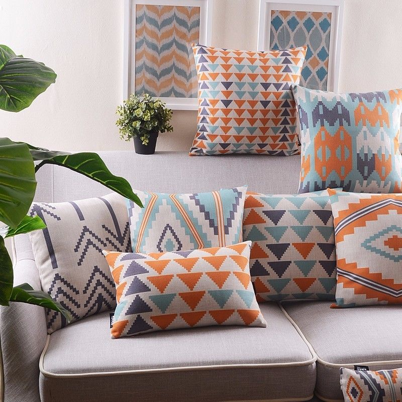 8 Patterns Aztec Geometric Arrow Pastel Aztec Cushion Cover Throw Pillow Case Home Sofa Decor Linen Cushion Cover 18 18