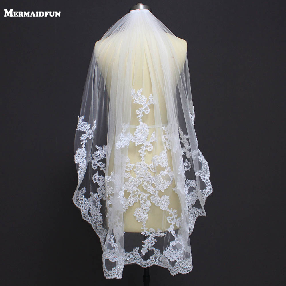 New One Layer Lace Appliques Short Wedding Veil With Comb New White Ivory Tulle Bridal Veil Voile De Mariee