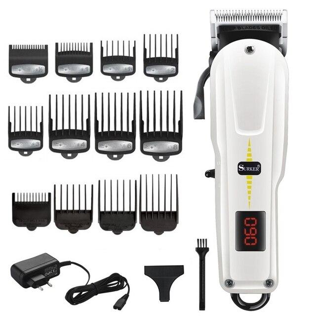 Aparador de cabelo e barba sem fio masculino, para barbeiro máquina de cortar cabelo potente ajustável aparador elétrico para homens