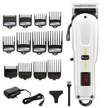 Cordless powerful hair clipper professional barber hair cutting machine hair cut adjustable beard electric hair trimmer for men