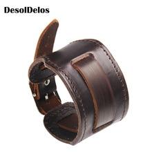 2019 Cowboy Style Bracelet Black/brown Strap Double Wide Wrap Leather Buckle Wristband Men Cuff Bracelets Punk Jewelry